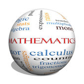 Mathematics 3D sphere Word Cloud Concept — Stock Photo
