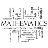 Mathematics Word Cloud Concept in black and white — Stockfoto