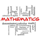 Mathematics Word Cloud Concept in red caps — Stock Photo