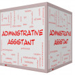 图库照片: Administrative Assistant Word Cloud Concept on 3D cube Whiteboard