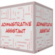 Administrative Assistant Word Cloud Concept on 3D cube Whiteboard — стоковое фото #39883139