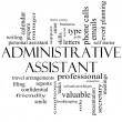 Administrative Assistant Word Cloud Concept in black and white — Stok Fotoğraf #39883183
