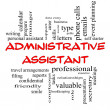 Foto Stock: Administrative Assistant Word Cloud Concept in red caps