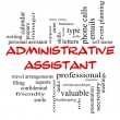 图库照片: Administrative Assistant Word Cloud Concept in red caps