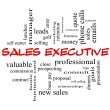 Foto Stock: Sales Executive Word Cloud Concept in red caps