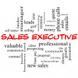 Foto de Stock  : Sales Executive Word Cloud Concept in red caps