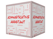 Administrative Assistant Word Cloud Concept on a 3D cube Whiteboard — Stock Photo
