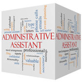 Administrative Assistant 3D cube Word Cloud Concept — Stock Photo