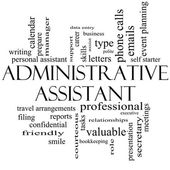 Administrative Assistant Word Cloud Concept in black and white — Стоковое фото