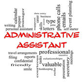 Administrative Assistant Word Cloud Concept in red caps — Foto de Stock