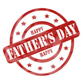 Red Weathered Happy Father's Day Stamp Circles and Stars — Stock Photo