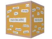 Sales Executive 3D cube Corkboard Word Concept — Stock Photo