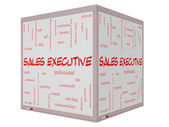 Sales Executive Word Cloud Concept on a 3D cube Whiteboard — Stock Photo