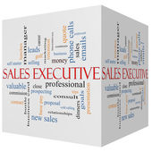 Sales Executive 3D cube Word Cloud Concept — Stock Photo