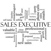 Sales Executive Word Cloud Concept in black and white — Стоковое фото