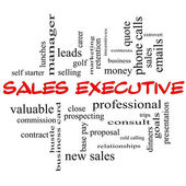 Sales Executive Word Cloud Concept in red caps — Stock Photo