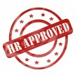 Stock Photo: Red Weathered HR Approved Stamp Circles and Stars