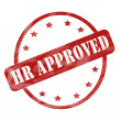 Stock Photo: Red Weathered HR Approved Stamp Circle and Stars