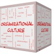 Stock Photo: Organizational Culture Word Cloud Concept on 3D cube Whiteboard