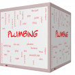 Plumbing Word Cloud Concept on 3D cube Whiteboard — Stock Photo #39946785