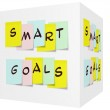 Smart Goals written on colorful sticky notes on a 3D cube — Stock Photo