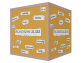 Organizational Culture 3D cube Corkboard Word Concept — Stock Photo