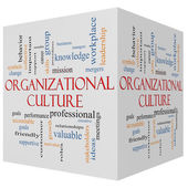 Organizational Culture 3D cube Word Cloud Concept — Stock Photo