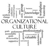 Organizational Culture Word Cloud Concept in black and white — Stok fotoğraf