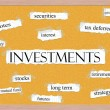 Investments Corkboard Word Concept — 图库照片 #40124803