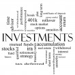 Stock Photo: Investments Word Cloud Concept in black and white