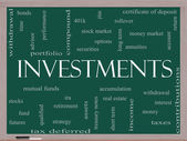 Investments Word Cloud Concept on a Blackboard — Foto Stock