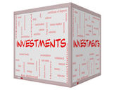 Investments Word Cloud Concept on a 3D cube Whiteboard — Stock Photo
