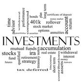 Investments Word Cloud Concept in black and white — Stock Photo