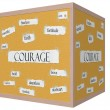 Stock Photo: Courage 3D cube Corkboard Word Concept