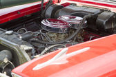 1958 Red Plymouth Car Engine — Stock Photo
