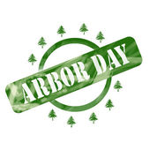 Green Weathered Arbor Day Stamp Circle and Trees Design — Stock Photo