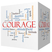 Courage 3D cube Word Cloud Concept — Stock Photo
