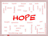 Hope Word Cloud Concept on a Whiteboard — Stock Photo