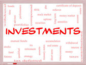 Investments Word Cloud Concept on a Whiteboard — Stock Photo