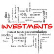 Stock Photo: Investments Word Cloud Concept in red caps