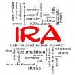 IRA Word Cloud Concept in red caps — Stock Photo