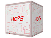 Hope Word Cloud Concept on a 3D cube Whiteboard — Stockfoto
