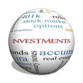 Investments 3D sphere Word Cloud Concept — Stok fotoğraf