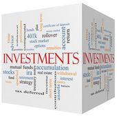 Investments 3D cube Word Cloud Concept — Stock Photo