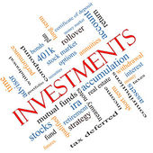 Investments Word Cloud Concept Angled — Stock Photo