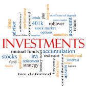 Investments Word Cloud Concept — Foto Stock
