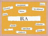 IRA Corkboard Word Concept — Stock fotografie