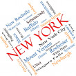 Stock Photo: New York State Word Cloud Concept Angled