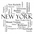 Stock Photo: New York State Word Cloud Concept in black and white