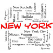 Stock Photo: New York State Word Cloud Concept in red caps